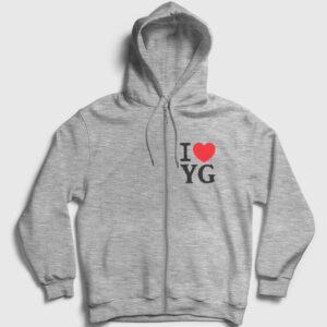 I Love Yozgat Fermuarlı Kapşonlu Sweatshirt gri kırçıllı