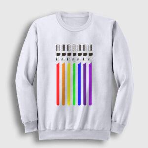 Işın Kılıcı Gökkuşağı Sweatshirt beyaz