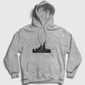 İskele Kapşonlu Sweatshirt gri kırçıllı