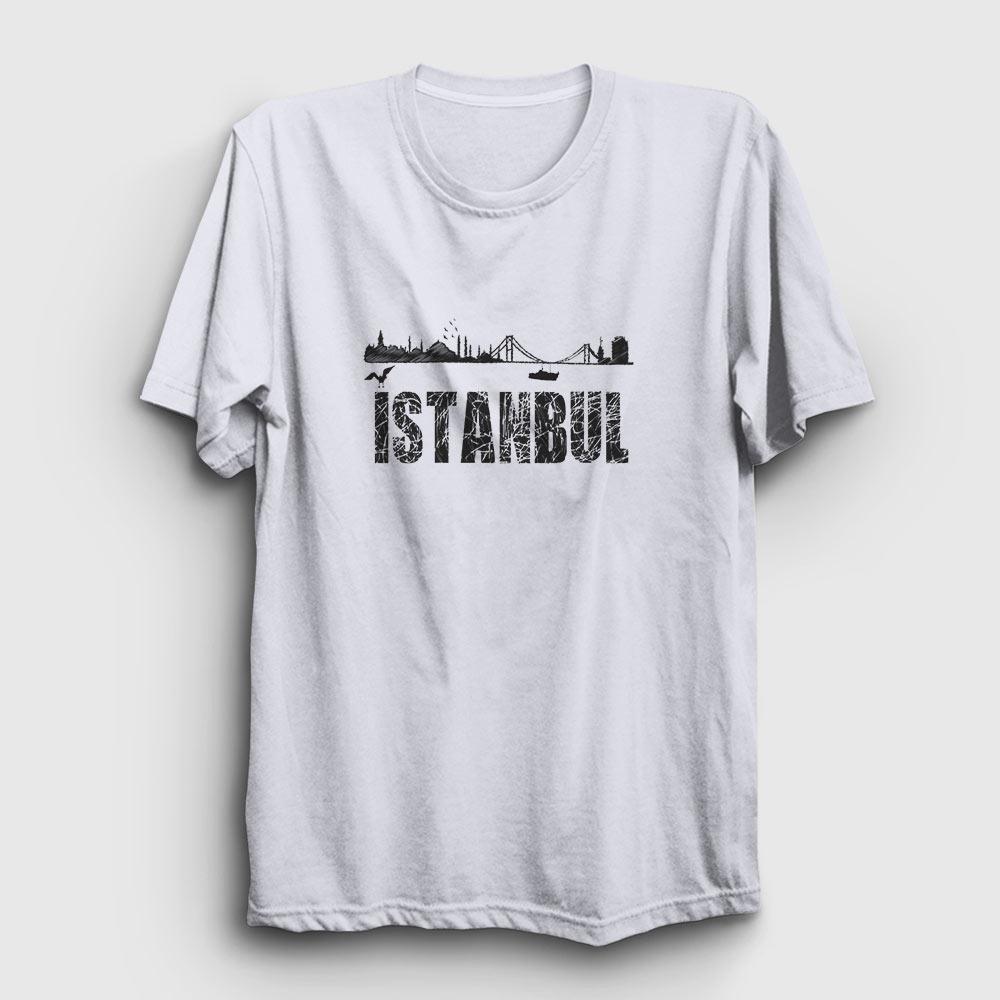 istanbul tişört - istanbul silüeti - beyaz