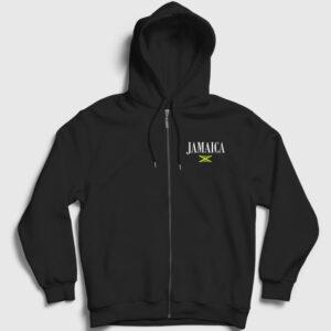 Jamaika Fermuarlı Kapşonlu Sweatshirt siyah