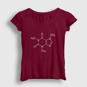 Kafein Formülü Kadın Tişört bordo