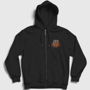 Kahve Baykuş Fermuarlı Kapşonlu Sweatshirt siyah