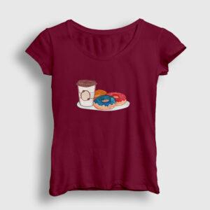 Kahve ve Donutlar Kadın Tişört bordo