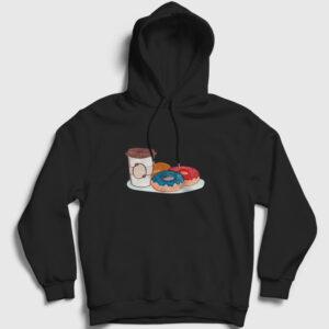 Kahve ve Donutlar Kapşonlu Sweatshirt siyah