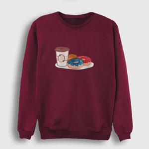 Kahve ve Donutlar Sweatshirt bordo