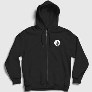 Kaktüs Fermuarlı Kapşonlu Sweatshirt siyah