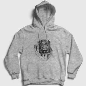 Kale Kapşonlu Sweatshirt gri kırçıllı