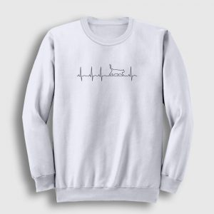 Kalp Ritmi Kedi Sweatshirt beyaz