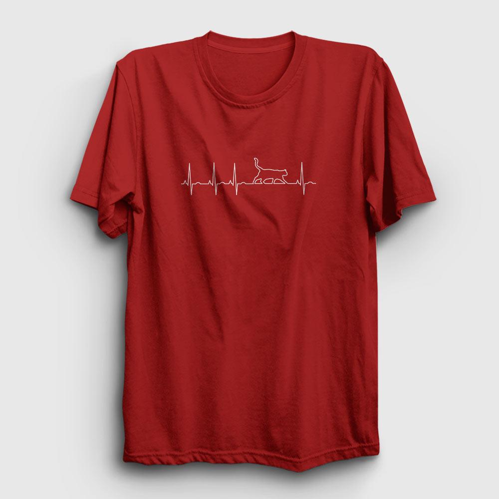 kalp ritmi kedi tişört kırmızı