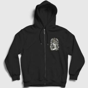 Kalp ve Çapa Fermuarlı Kapşonlu Sweatshirt siyah