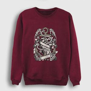 Kalp ve Çapa Sweatshirt bordo