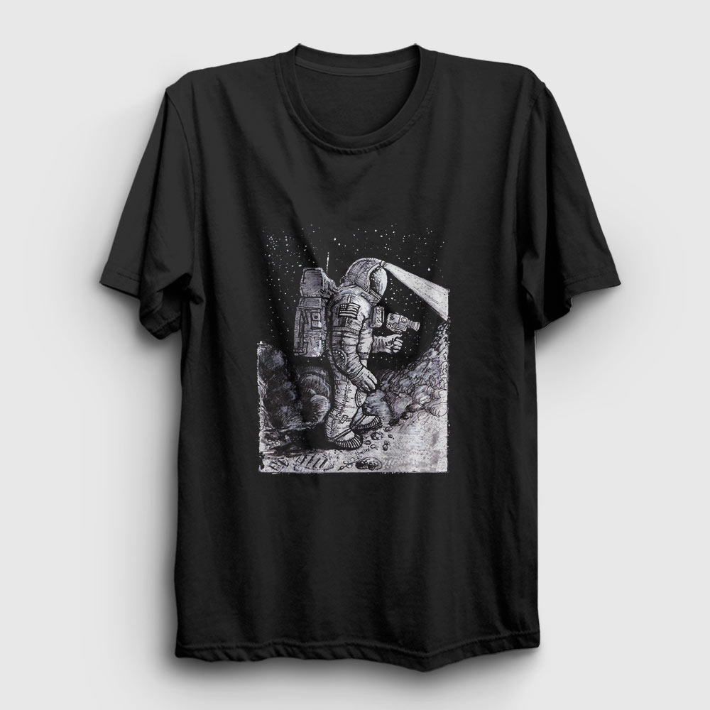 kameralı astronot tişört siyah