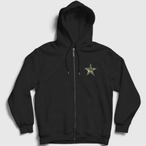 Kamuflaj Fermuarlı Kapşonlu Sweatshirt siyah