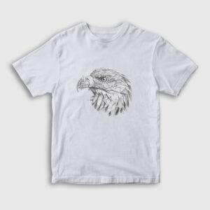 Karakalem Kartal Çocuk Tişört beyaz