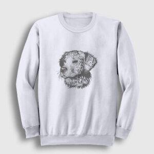 Karakalem Köpek Sweatshirt beyaz