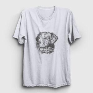 Karakalem Köpek Tişört beyaz
