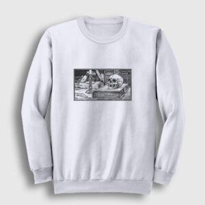 Karakalem Kurukafa Sweatshirt beyaz
