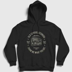 Kaset Çalar Kapşonlu Sweatshirt siyah