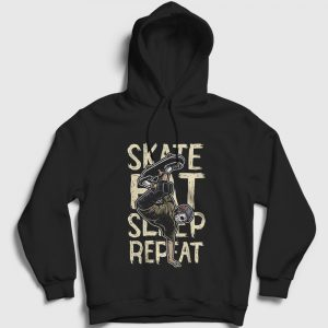 Kaykay Kapşonlu Sweatshirt - Skate Eat Sleep Repeat siyah