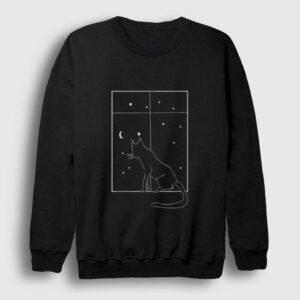 Kedi ve Gece Sweatshirt siyah