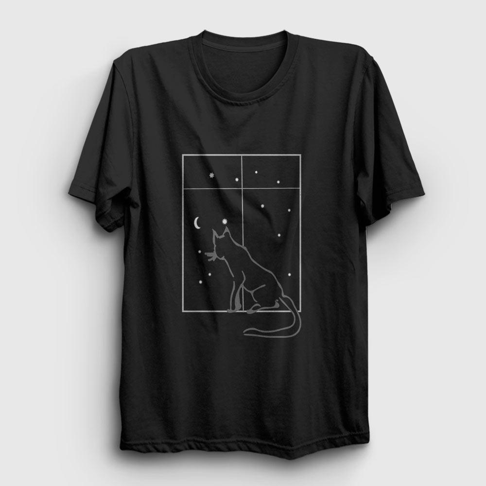 kedi ve gece tişört siyah