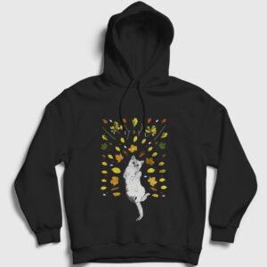 Kedi ve Yapraklar Kapşonlu Sweatshirt siyah