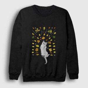 Kedi ve Yapraklar Sweatshirt siyah