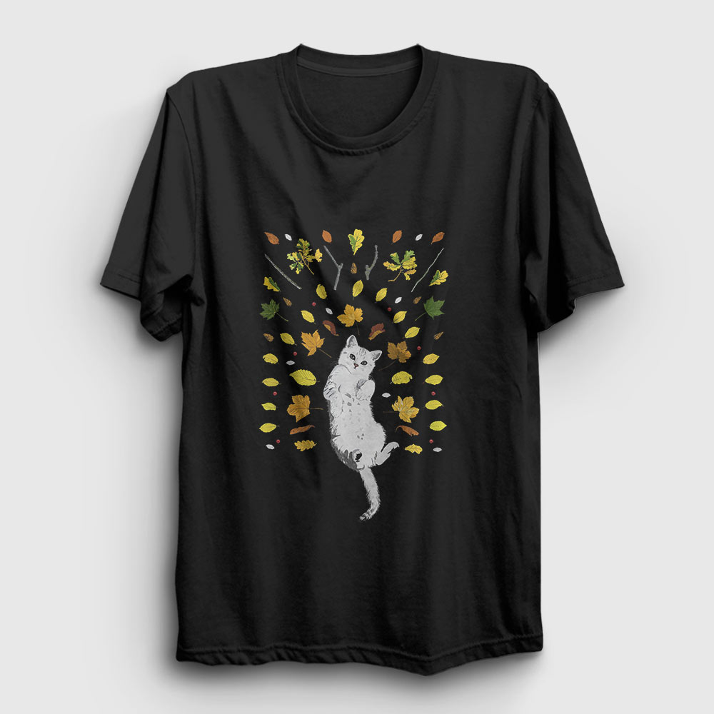Kedi ve Yapraklar Tişört siyah
