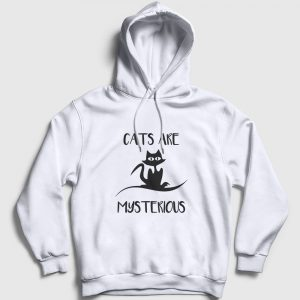Kedili Kapşonlu Sweatshirt - Cats are mysterious beyaz