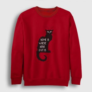 Kedili Sweatshirt - Home is where your cat is kırmızı