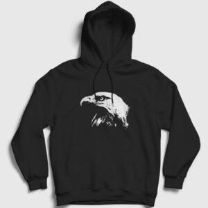 Kel Kartal Kapşonlu Sweatshirt siyah