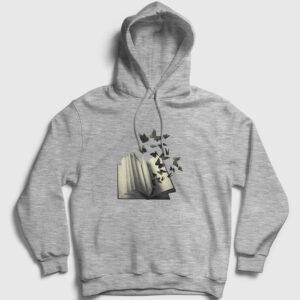 Kelebek Kapşonlu Sweatshirt gri kırçıllı