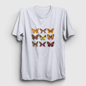 Kelebekler Tişört beyaz