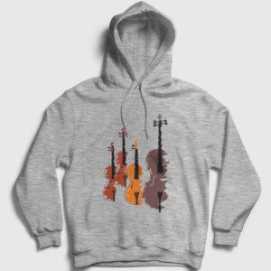 Keman Kapşonlu Sweatshirt – Quartet gri-kircilli