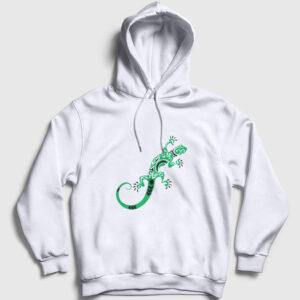 Kertenkele Kapşonlu Sweatshirt beyaz