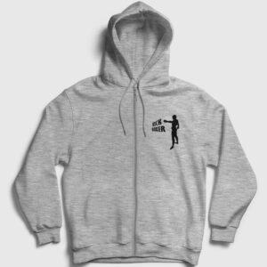 Kick boks Fermuarlı Kapşonlu Sweatshirt gri kırçıllı