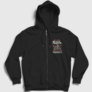 King of Speed Fermuarlı Kapşonlu Sweatshirt siyah