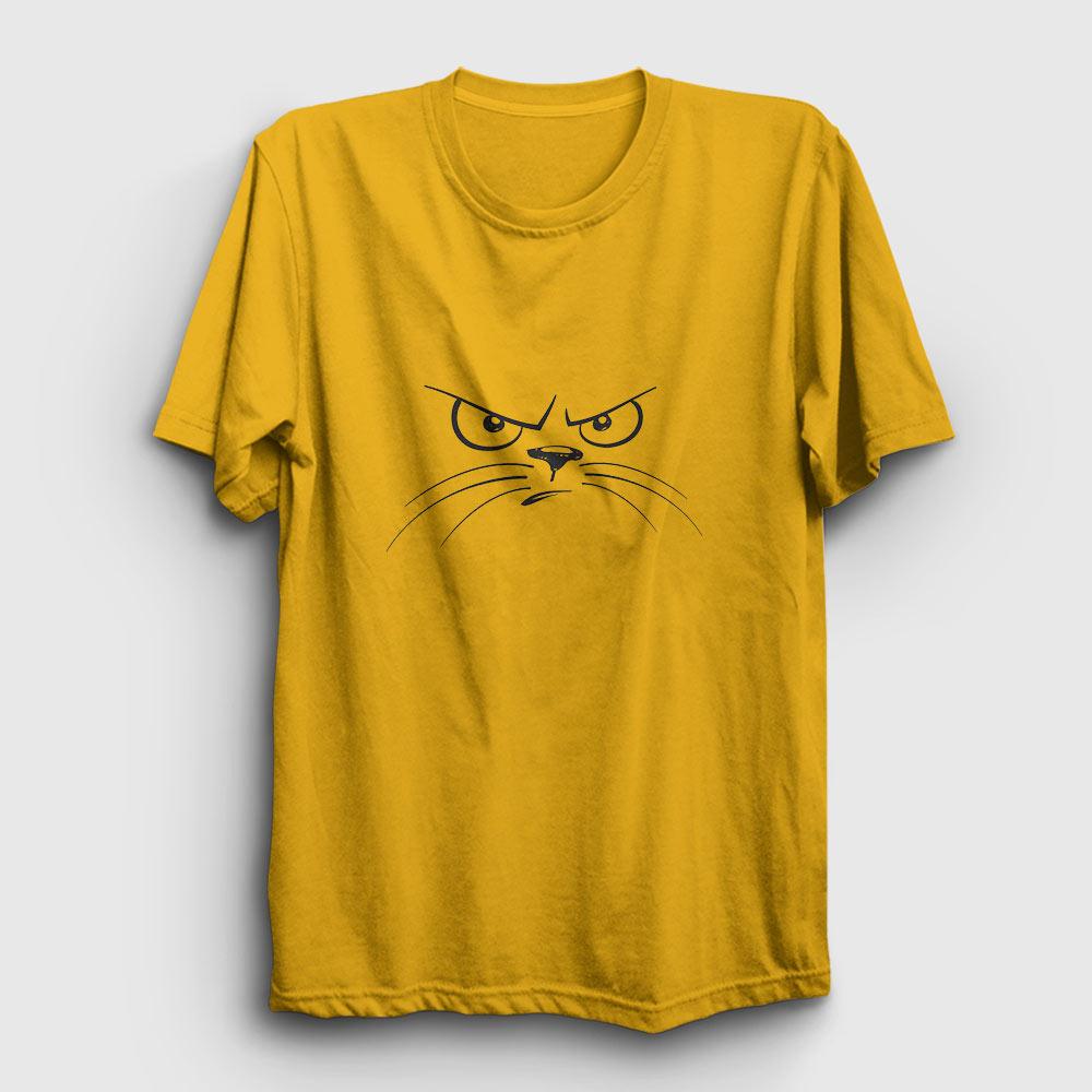 kızgın kedi suratı tişört sarı