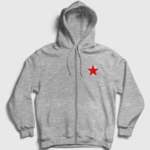 Kızıl Yıldız Fermuarlı Kapşonlu Sweatshirt gri kırçıllı