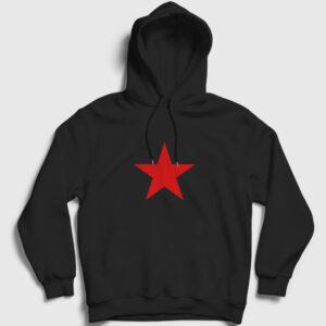 Kızıl Yıldız Kapşonlu Sweatshirt siyah