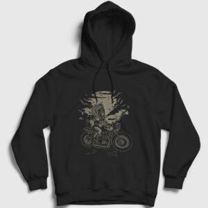 Kızılderili Motorcu Şef Kapşonlu Sweatshirt siyah