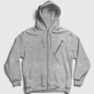 Klarnet Fermuarlı Kapşonlu Sweatshirt gri kırçıllı