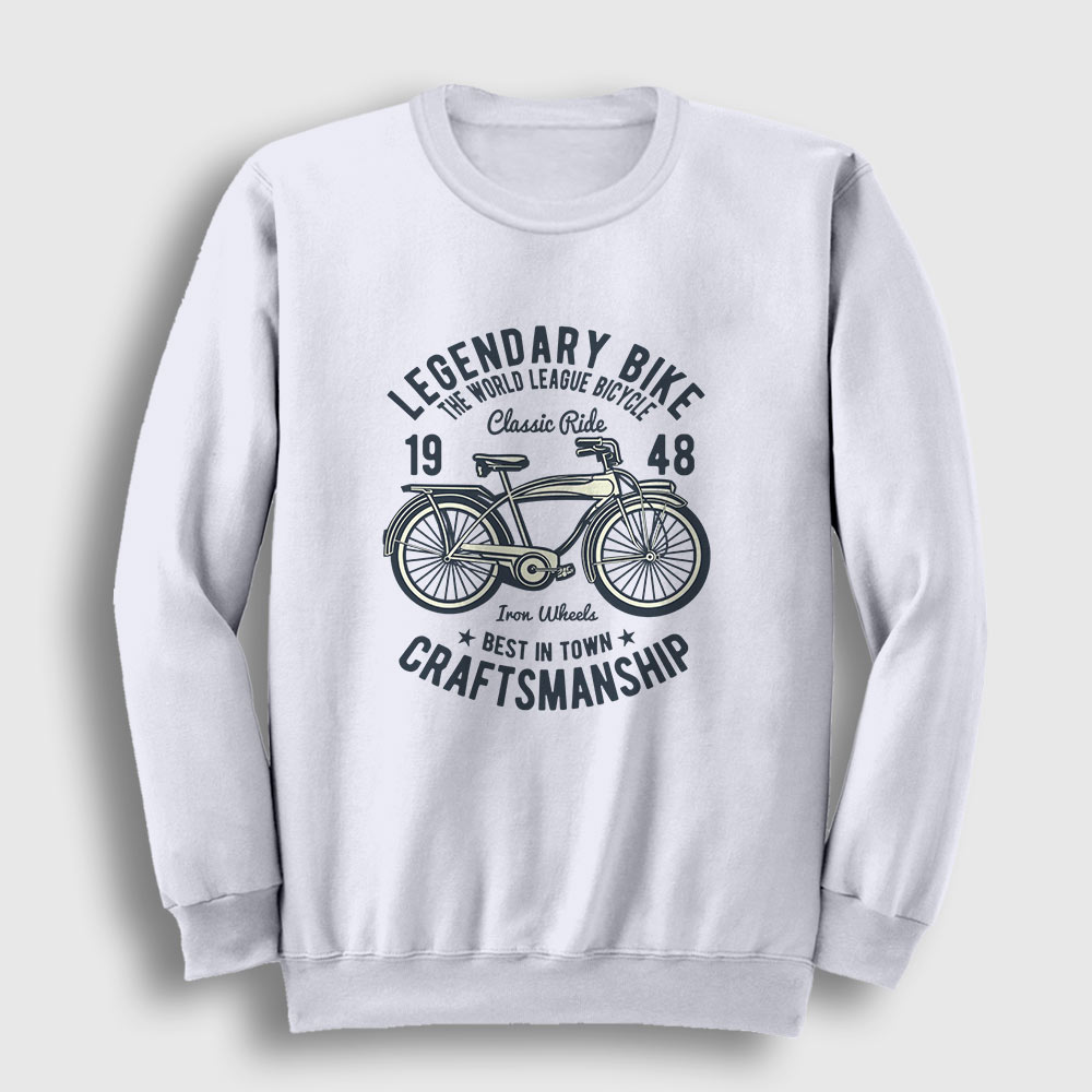 Klasik Bisiklet Sweatshirt beyaz