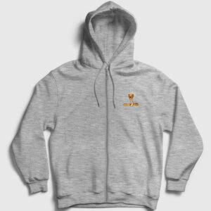 Kobra Fermuarlı Kapşonlu Sweatshirt gri kırçıllı