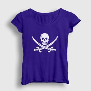 Korsan Bayrağı Kadın Tişört lacivert