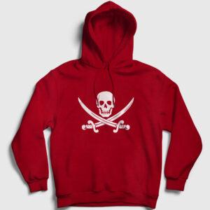 Korsan Bayrağı Kapşonlu Sweatshirt kırmızı