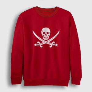Korsan Bayrağı Sweatshirt kırmızı