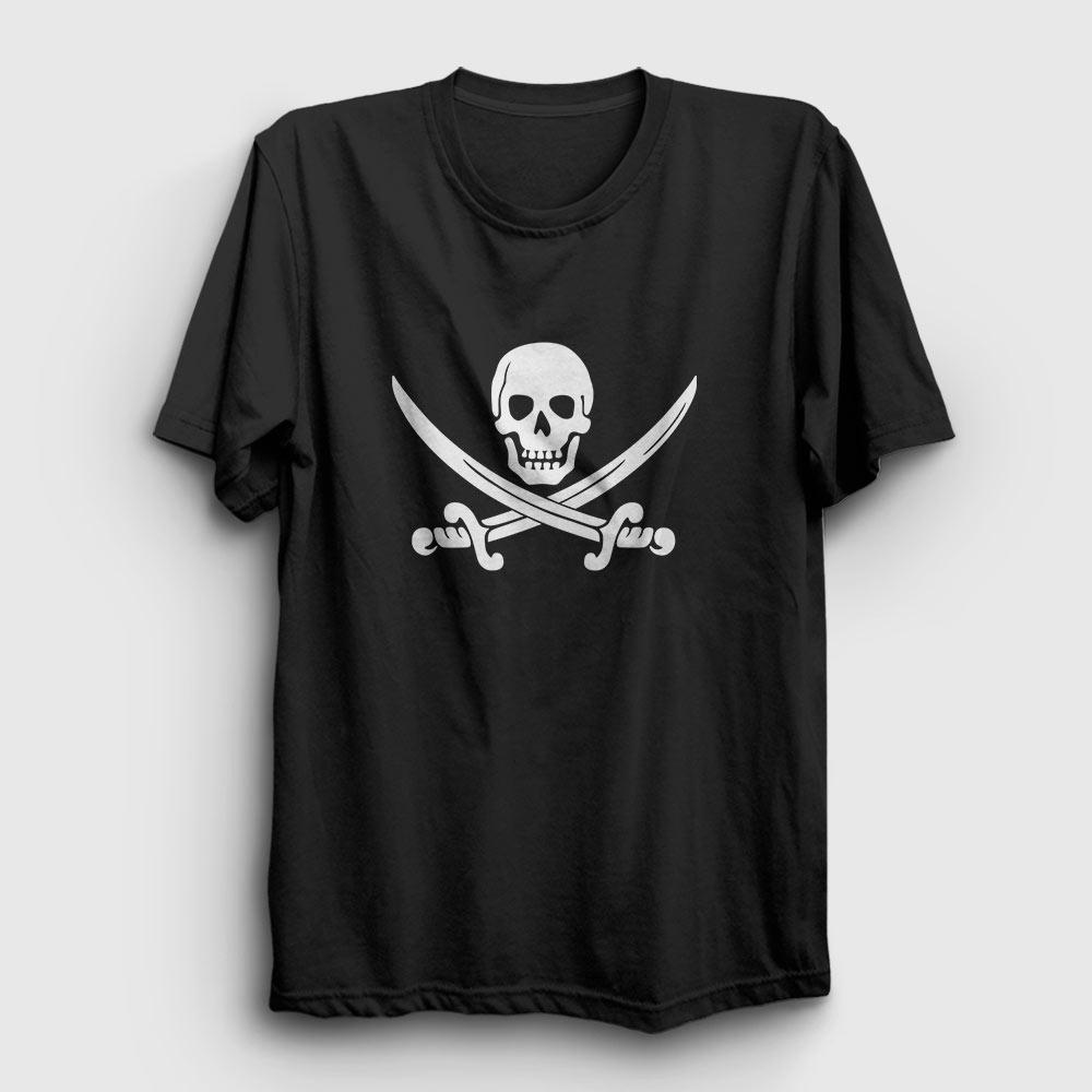korsan bayrağı tişört siyah