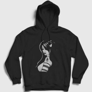 Korsan Kız Kapşonlu Sweatshirt siyah